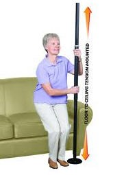 Standers Security Pole w/o Grab Bar- Black- STD1150B- 1 Each
