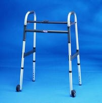 Adult Walker 3 Inch Wheels- Folding- Dual Release- INV62913F- 1 Each