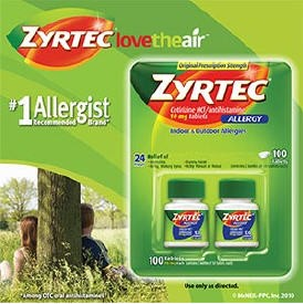 100 Tablets of Zyrtec Allergy Original Strength