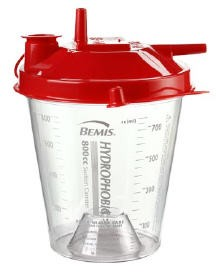 Bemis Suction Canister with Lid 800mL Disposable 424410- 1 Each