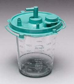Suction Canister 1200mL with Lid Bemis Hi-Flow 484410- 1 Each