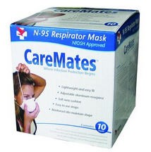 N95 Masks CareMates Cone Style Flat Fold SPD017106201- Box of 10