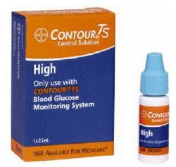 Contour TS High Glucose Control Solution Bayer 1860- 1 Each