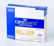 Careband Sheer Adhesive Strips LF 0.75 x 3 Inch CBD2018- Box/100