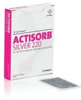 Actisorb Silver 220 Dressing 4.2 x 7.6 Inch JNJ190220- Box of 10