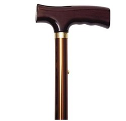 Folding Cane Bronze Color Wood Handle Fritz Alex 10503- 1 Each