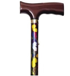 Alex Folding Cane Butterfly Alum with Wood Handle 10510- 1 Each