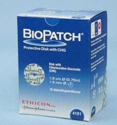 Box of IV Dressings Biopatch 0.75 Inch Disk 1.5mm Hole 4151- Box/10