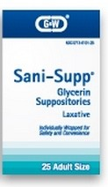 Glycerin Suppository Laxative Sani-Supp G&W Labs 1211184- Box/25