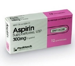 Aspirin Suppository 300mg Pain Reliever Paddock 1155522- Pack/12