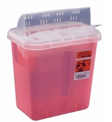 Case of Sharps Containers Red 2 Gal Clear Horizontal Lid 89651- Cs/20