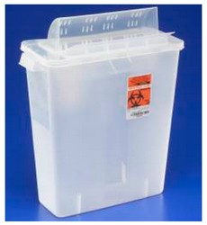 Sharps Container 8 Quart Clear In-Room Always Open Lid 85321- 1 Each