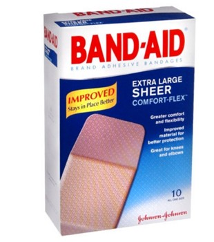 BandAid Sheer Strip Bandages X-Large 1.75 x 4 Inch 1301431- 10 Pack