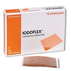 Box of Iodoflex Iodine Gel Pads 4x6 cm Smith Nephew 6602133005- Box/5