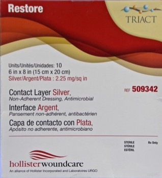 Box Restore Silver Contact Wound Dressings 6 x 8 Inch 509342- Box/10
