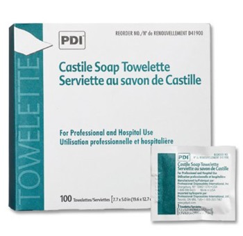 Castile Soap Towelettes 5 x 8 Inch Peri Wipes PDI D41900- Box of 100