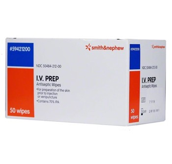 IV Prep Alcohol Prep Pads Antiseptic Smith and Nephew 59421200- Box/50