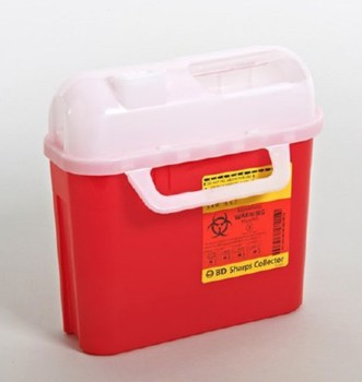 Case BD 305443 Sharps Containers 5.4 Quart Red with White Lid- Case/20