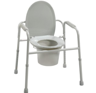 Commode Steel Deluxe with Plastic Armrests Gray Drive 11105N4- 1 Each