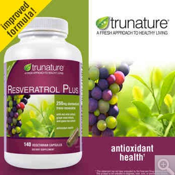 TruNature Resveratrol Plus 250mg with Red Wine Extract- 140 Softgels
