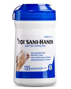 PDI SaniHands ALC Alcohol Gel Hand Wipes P13472- 135 Pack Canister