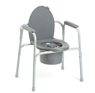 Steel Commode All-in-One Gray Color Invacare Model 96304- 1 Each
