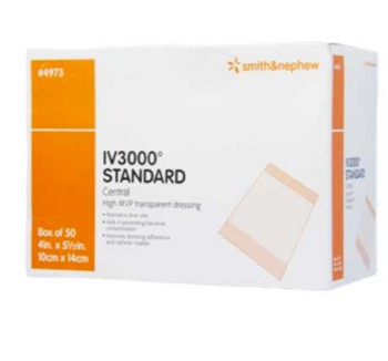 Box of IV Dressing 4x5 Inch OpSite IV3000 Smith Nephew 4973- Box of 50