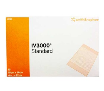 Box of OpSite IV3000 Standard 4x5 Central IV Dressings 4925- Box of 10
