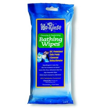 No-Rinse Bathing Wipes Soft Pack BZK Clean Life 2064061- Pack/8