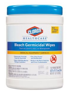 Bleach Germical Wipes Clorox Healthcare Fruity Floral 30577- Can/150