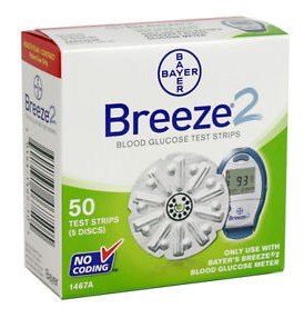 Bayer Breeze2 Blood Glucose Test Strips No Coding 1465- Box of 50