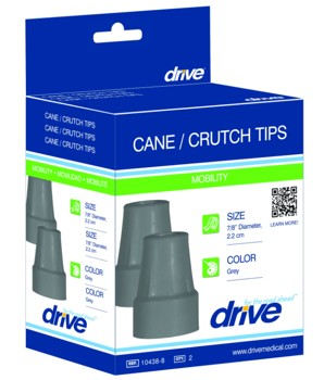 Drive Cane and Crutch Tips Black 7/8 Inch Retail Box 10374BK8- 1 Pair