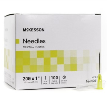 McKesson Needles Hypodermic 18 Gauge 1 Inch Thin Wall 16N181- Box/100