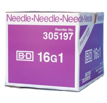 PrecisionGlide Needle 16 Gauge 1 Inch Regular Wall BD 305197- Box/100