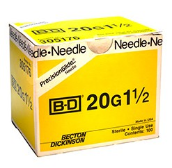 BD Needles 20 Gauge 1.5 Inch PrecisionGlide 305176- Box/100