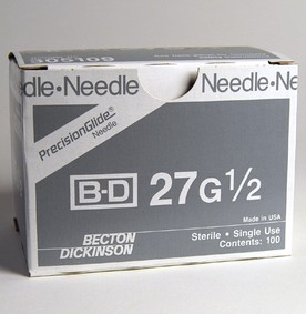 Box BD Needles 27G x 0.5 Regular Wall PrecisionGlide 305109- Box/100