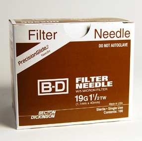 BD Blunt Fill Needle 5 Micron Filter 18G 1 5 inch BD 305211- Box/100