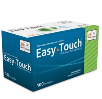 EasyTouch Insulin Pen Needles 29G 1/2 Inch MHC Medical 829021- Box/100