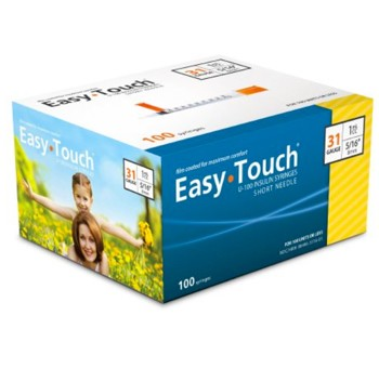 Insulin Syringe with Needle EasyTouch 1mL 31G 5/16 MHC 831165- Box/100