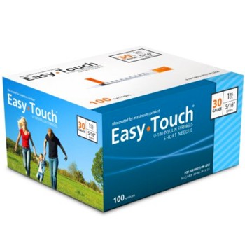 Insulin Syringe with Needle EasyTouch 1mL 30G 5/16 MHC 830165- Box/100