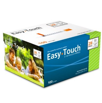 EasyTouch 1mL Insulin Syringe Needle 29G 0.5 Inch MHC 829155- Box/100