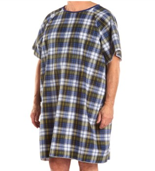 Salk Company TieBack Hospital Gown Blue Plaid Salk 550BP- 1 Each
