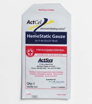 ActCel Hemostatic Gauze 4x2 Inch Cellulose Moore Medical 79301- 1 Each
