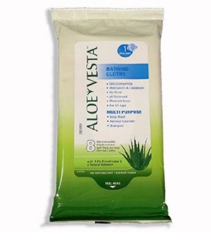 Aloe Vesta Bath Wipes Dimethicone pH Balanced Convatec 325521- Pack/8