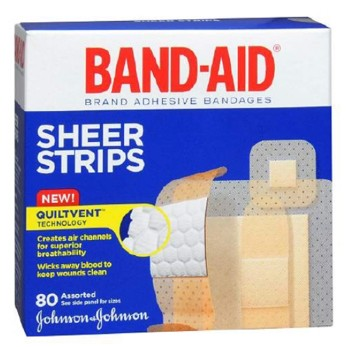 Band-Aid Assorted Adhesive Strips Quiltvent J&J Sales 117134- Box/80