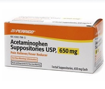 Pain Relief Suppository 650mg Acetaminophen Perrigo 1679869- Box/100