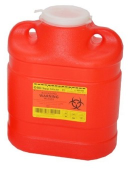 BD Sharps Container 6.9 Quart Red Base with Funnel Lid 305489- 1 Each
