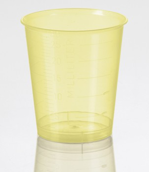 Plastic Medicine Cups 30mL Yellow Graduated Health Care 5163- Pack/400