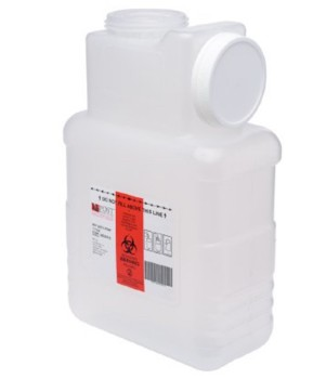 Case of Sharps Containers Clear Base 1.5 Gallon Post 2201LPBW- Case/22