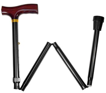 Folding Cane Black with Walnut Finish Derby Handle Carex A77300- 1 Each